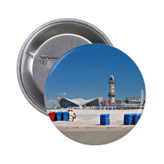 Beach chairs and lighthouse in Warnemuende Pin