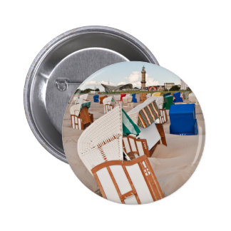 Beach chairs and lighthouse in Warnemuende Pinback Button
