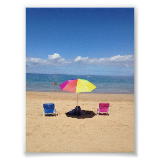 Beach chairs and Umbrella Hawaii Ocean Poster