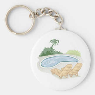 Beach Chairs by Pool Key Ring