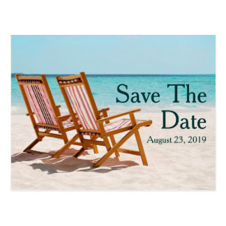 Beach Chairs Destination Wedding Save the Date Postcard