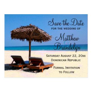 Beach Chairs Destination Wedding Save the Date Postcard