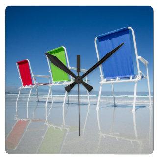 Beach Chairs In Australia Square Wall Clock