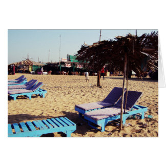 Beach Chairs on Candolim Beach in Goa India Greeting Card