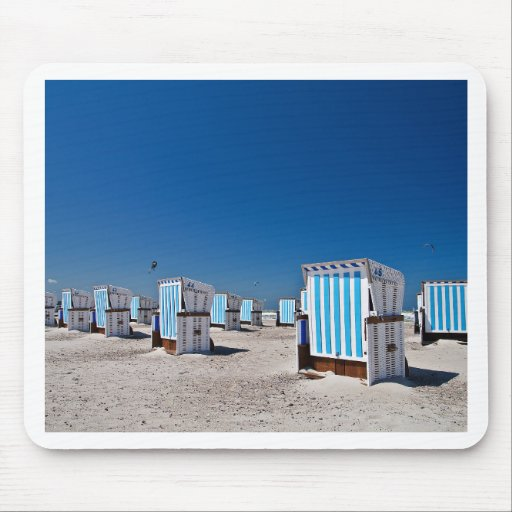 Beach chairs on shore of the Baltic Sea Mousepad