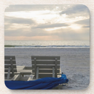 Beach chairs on St. Pete's beach at sunset. Beverage Coaster