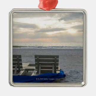 Beach chairs on St. Pete's beach at sunset. Christmas Ornament