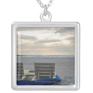 Beach chairs on St. Pete's beach at sunset. Silver Plated Necklace