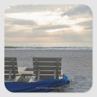 Beach chairs on St. Pete's beach at sunset. Square Sticker