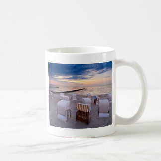 Beach chairs on the Baltic Sea coast Basic White Mug