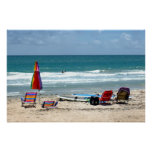 beach chairs surfboards umbrellas sand ocean sm poster