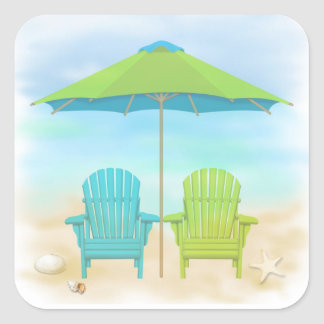 Beach Chairs, Umbrella, Beach Square Sticker