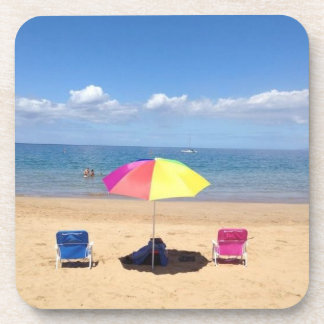 Beach Chairs Umbrella Ocean Scene Hawaii Coasters