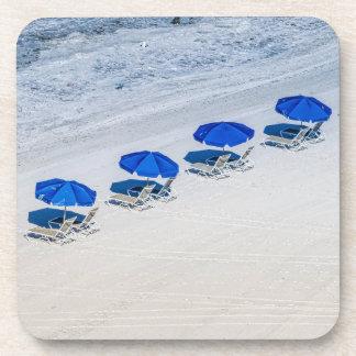 Beach Chairs with Blue Umbrella on Madeira Beach Coaster