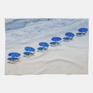 Beach Chairs with Blue Umbrella on Madeira Beach Tea Towel
