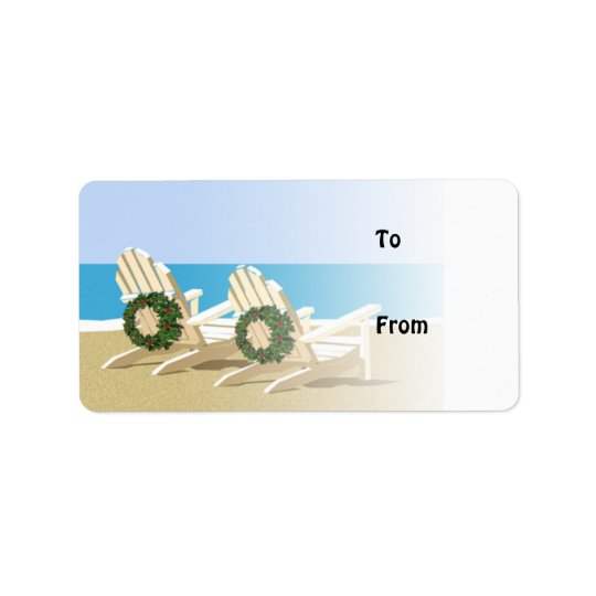 Beach Chairs & Wreaths Gift Tags Address Label