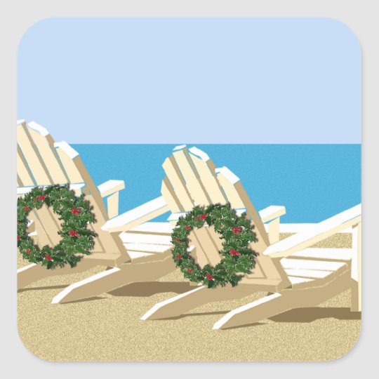 Beach Chairs & Wreaths Square Sticker