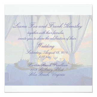 beach champagne wedding invitation