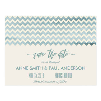 Beach chevron Save the Date Postcard