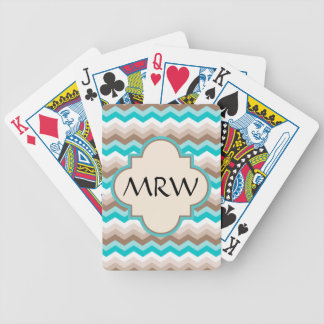 Beach Chevron Zigzag Monogram Bicycle Playing Cards