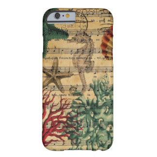 beach chic coastal coral seahorse seashell barely there iPhone 6 case