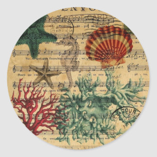 beach chic coastal coral seahorse seashell classic round sticker