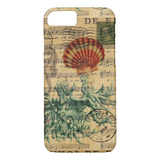 beach chic coastal coral seahorse seashell iPhone 8/7 case