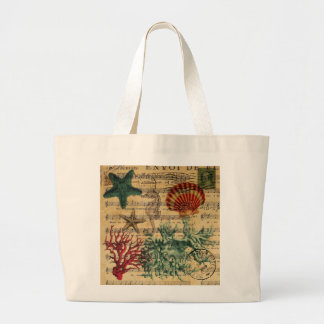 beach chic coastal coral seahorse seashell large tote bag