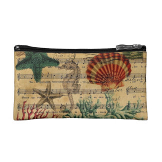 beach chic coastal coral seahorse seashell makeup bag