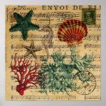 beach chic coastal coral seahorse seashell poster