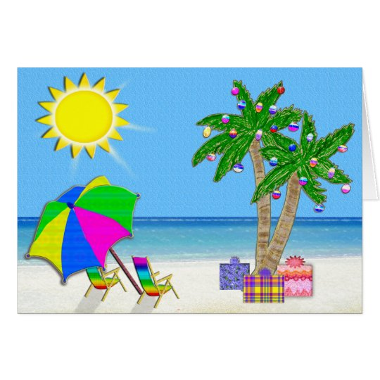 Beach Christmas Cards, Cheery Palm Trees, Sunshine Card