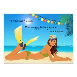 Beach Christmas Holiday Card 13 Cm X 18 Cm Invitation Card