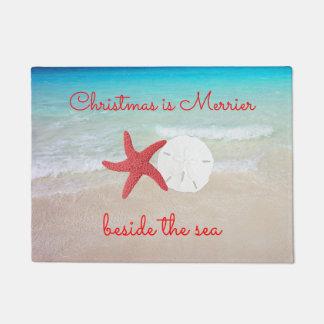 Beach Christmas Merrier by the Sea Door Mat