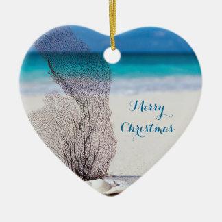 Beach Christmas Ornaments Heart Coral