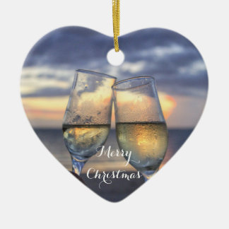 Beach Christmas Ornaments Heart Sunset