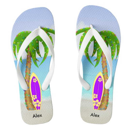Beach Christmas Palm Tree Surfboard Flip Flops