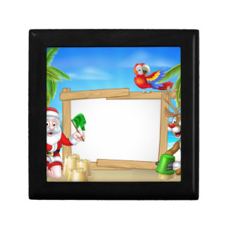 Beach Christmas Santa and Reindeer Gift Box