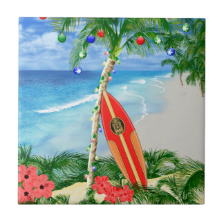 Beach Christmas Small Square Tile