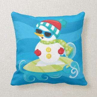 Beach Christmas snowman surfing pillow