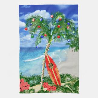 Beach Christmas Tea Towel