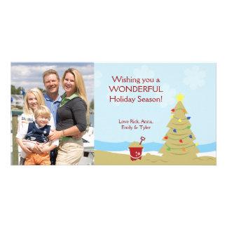 BEACH Christmas Tree Sand Castle Vacation 8x4 Customised Photo Card