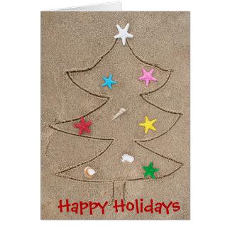 beach Christmas tree with starfish Card