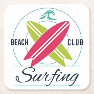 Beach Club Surfing paper coasters