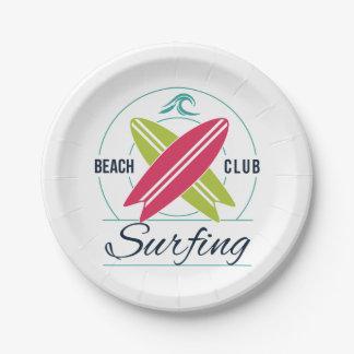 Beach Club Surfing paper plates