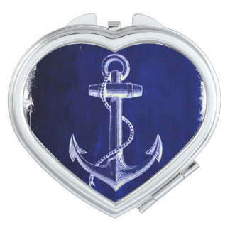 beach coastal chic nautical navy blue anchor compact mirror