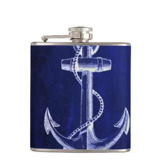 beach coastal chic nautical navy blue anchor flasks