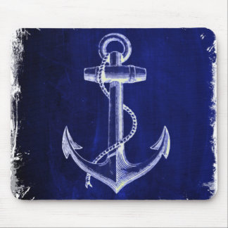 beach coastal chic nautical navy blue anchor mouse mat