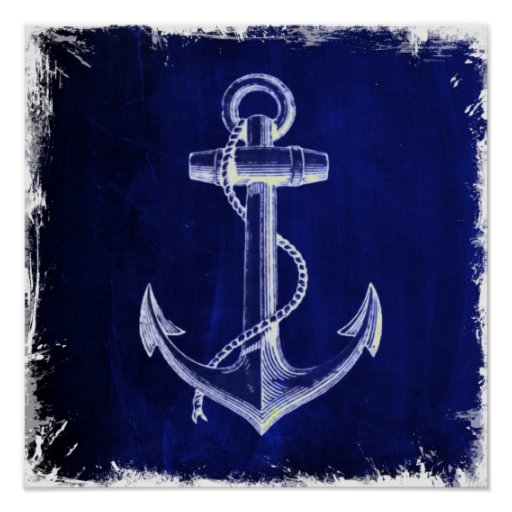 beach coastal chic nautical navy blue anchor poster