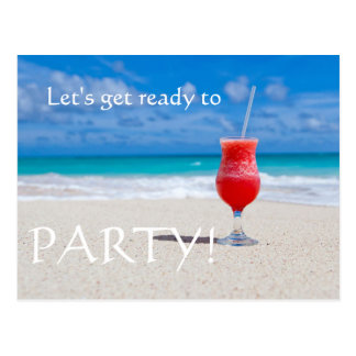 Beach Cocktail save the date Postcard