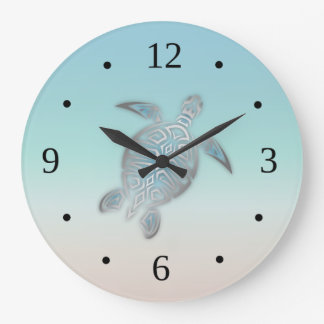 Beach Colors Gradient Turtle Large Clock